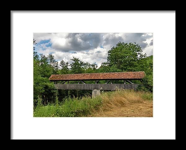 Rothenburg Bridge Framed Print featuring the photograph Rothenburg Covered Bridge by Norma Brandsberg