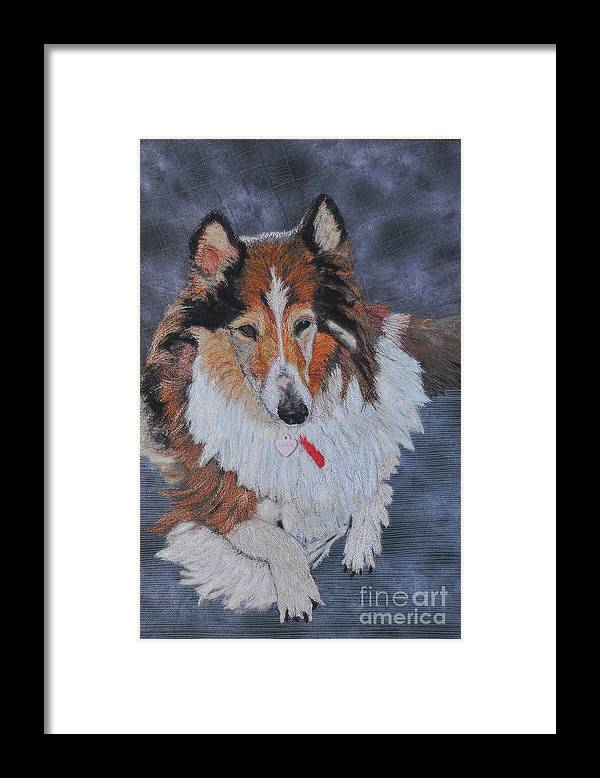 Rough Collie Framed Print featuring the tapestry - textile rough Collie by Dolores Fegan