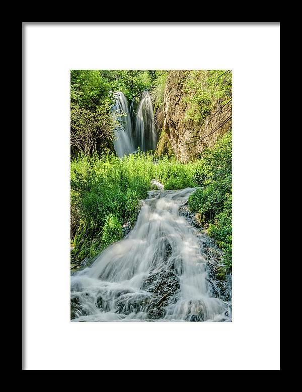 Tranquility Framed Print featuring the photograph Roughlock Waterfalls In Lead, South by Carl M Christensen