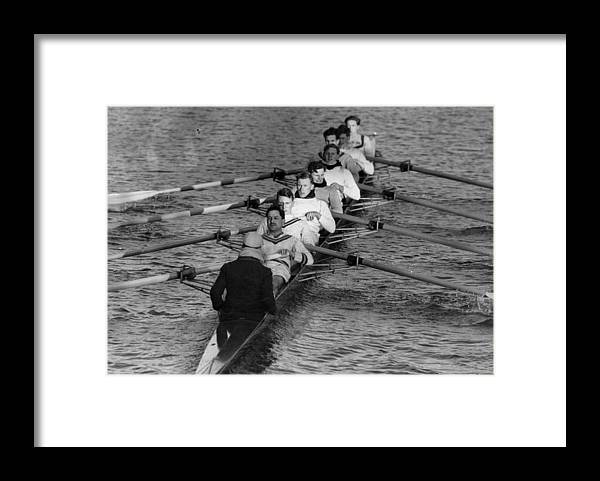Sport Rowing Framed Print featuring the photograph Rowing Eight by Bert Hardy