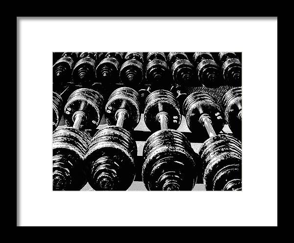 Sport Framed Print featuring the photograph Rows Of Dumbbells by Tim Lynch