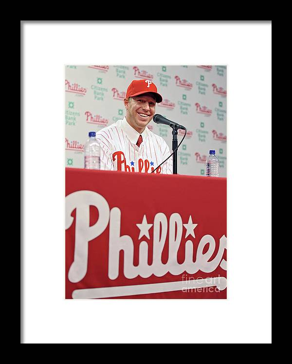 People Framed Print featuring the photograph Roy Halladay Press Conference by Drew Hallowell