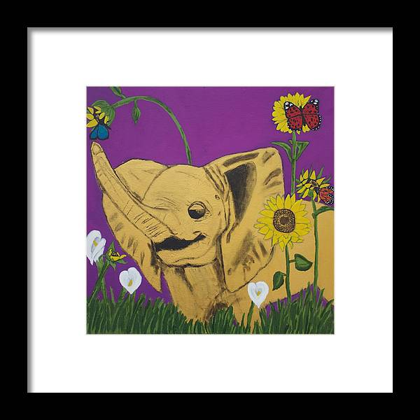 Elephant Framed Print featuring the painting Royal Elphant Edition 2 by Sonye Locksmith