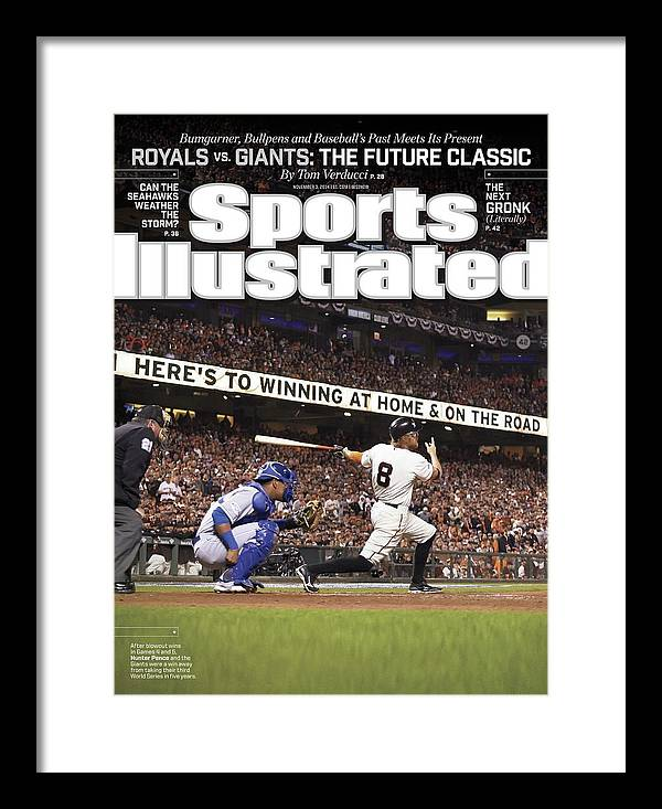 Magazine Cover Framed Print featuring the photograph Royals Vs. Giants The Future Classic Sports Illustrated Cover by Sports Illustrated