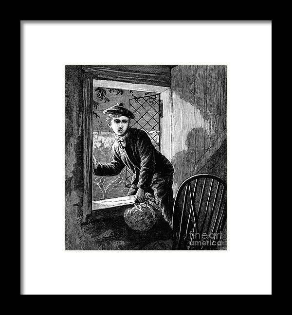 Adolescence Framed Print featuring the digital art Runaway Boy Climbing Out Of A Window by Whitemay