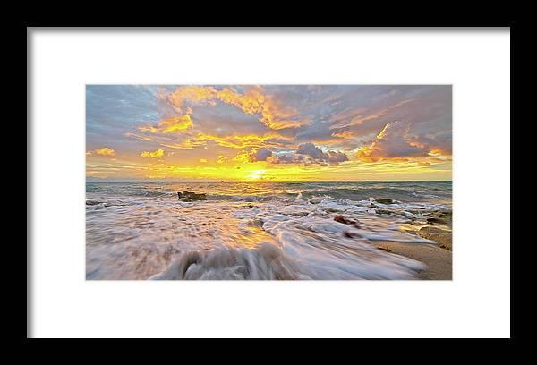Carlin Park Framed Print featuring the photograph Rushing Surf by Steve DaPonte