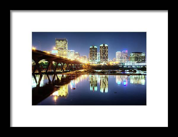 Tranquility Framed Print featuring the photograph Rva Summer Night - Richmond Va On The by Sky Noir Photography By Bill Dickinson
