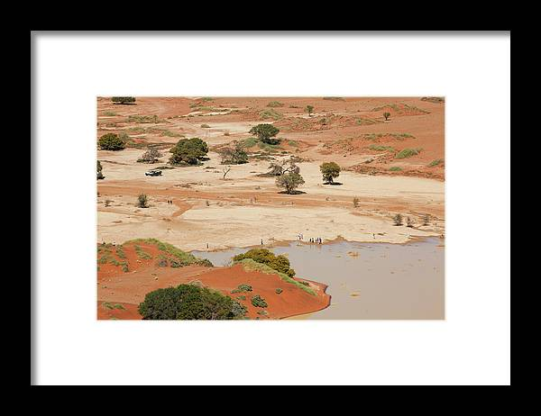 Namibia Framed Print featuring the photograph Safari Tourists By Sossusvlei Pan by Bjarte Rettedal
