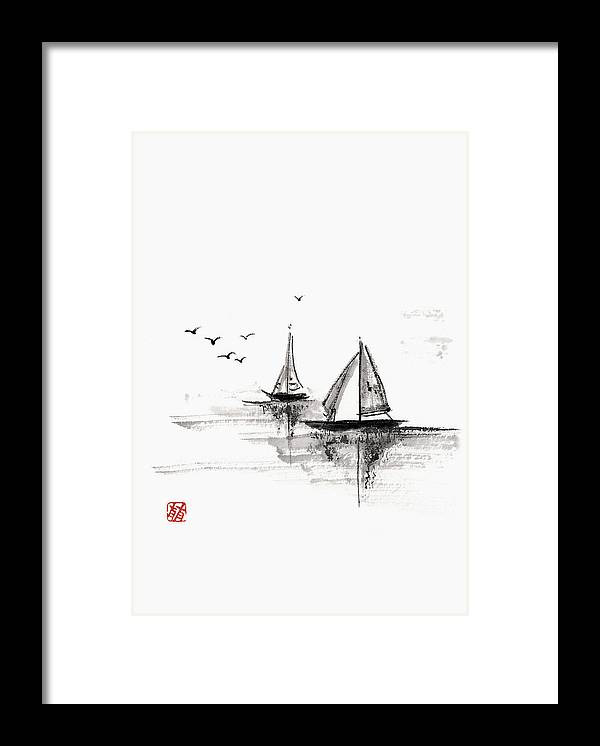 Ink And Brush Framed Print featuring the digital art Sailboats On The Water by Daj