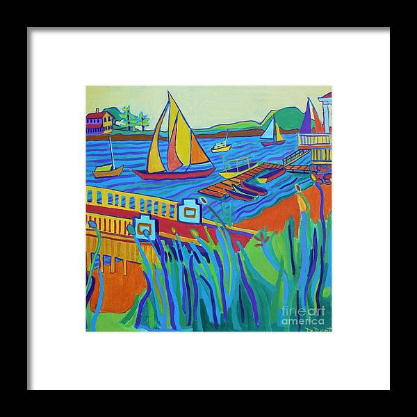 Landscape Framed Print featuring the painting Sailing at Tucks Point Manchester by the sea by Debra Bretton Robinson