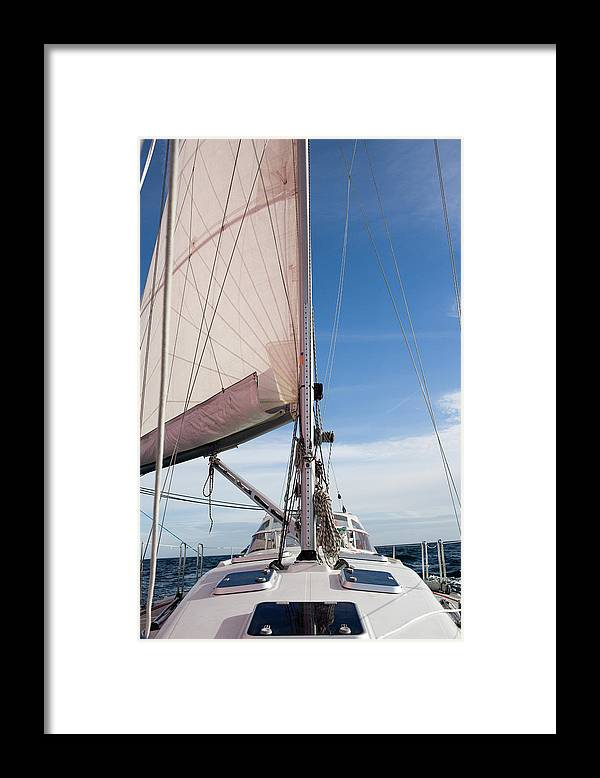 Baltic Sea Framed Print featuring the photograph Sailing Boat In Sea by Bjurling, Hans