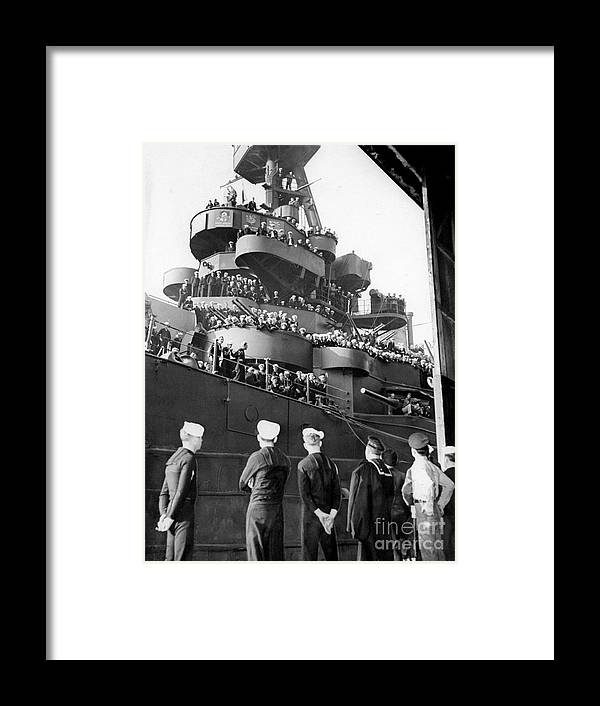 1940-1949 Framed Print featuring the photograph Sailors, Anticipating Shore Leave, Line by New York Daily News Archive