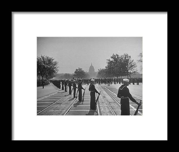 Timeincown Framed Print featuring the photograph Sailors Lining Constitution Avenue For by Alfred Eisenstaedt