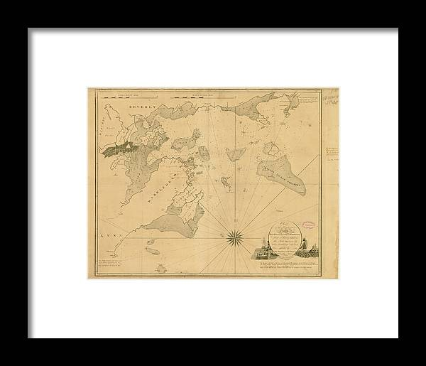 Salem Framed Print featuring the digital art Salem, Marblehead, Beverly, Manchester by Historic Map Works Llc