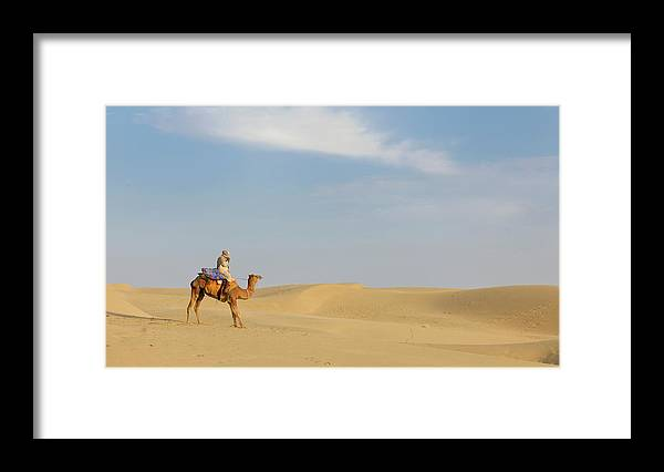 Tranquility Framed Print featuring the photograph Sam Sand Dunes Near Jaisalmer, Rajasthan by Cultura Rm Exclusive/karen Fox