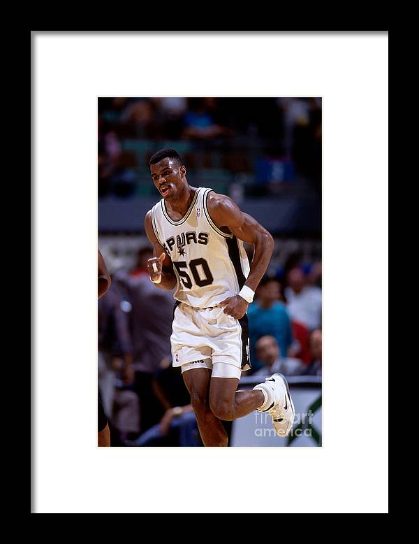 Nba Pro Basketball Framed Print featuring the photograph San Antonio Spurs David Robinson by Andy Hayt