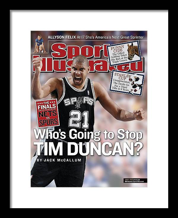 Playoffs Framed Print featuring the photograph San Antonio Spurs Tim Duncan, 2003 Nba Western Conference Sports Illustrated Cover by Sports Illustrated