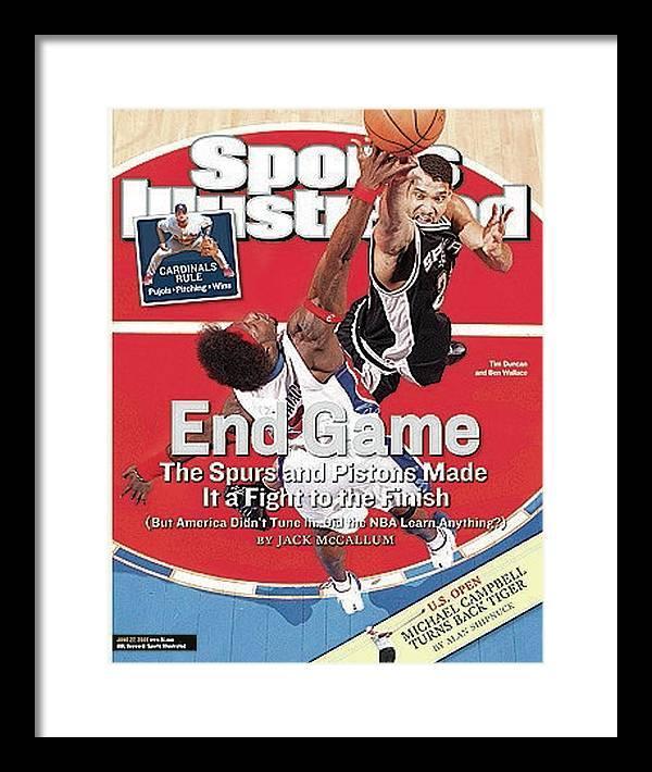Magazine Cover Framed Print featuring the photograph San Antonio Spurs Tim Duncan, 2005 Nba Finals Sports Illustrated Cover by Sports Illustrated