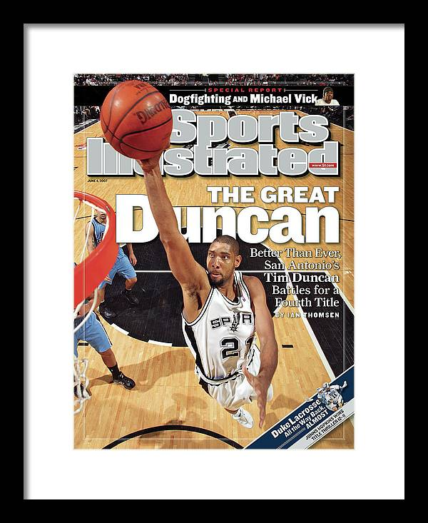 Magazine Cover Framed Print featuring the photograph San Antonio Spurs Tim Duncan, 2007 Nba Western Conference Sports Illustrated Cover by Sports Illustrated