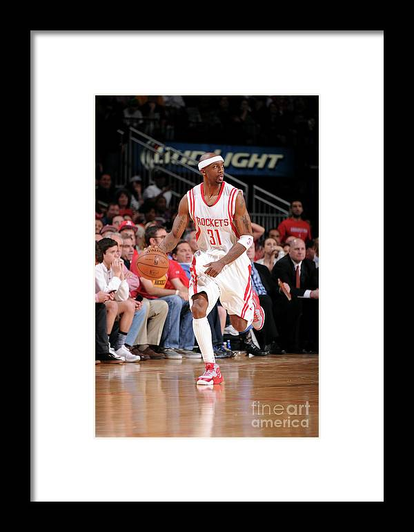Jason Terry Framed Print featuring the photograph San Antonio Spurs V Houston Rockets by Bill Baptist