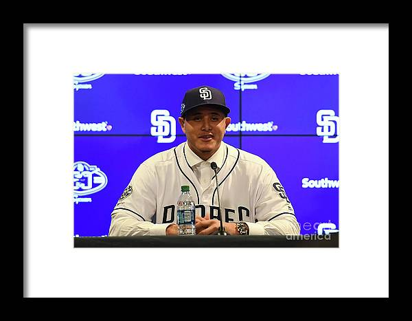 Peoria Sports Complex Framed Print featuring the photograph San Diego Padres Introduce Manny Machado by Jennifer Stewart