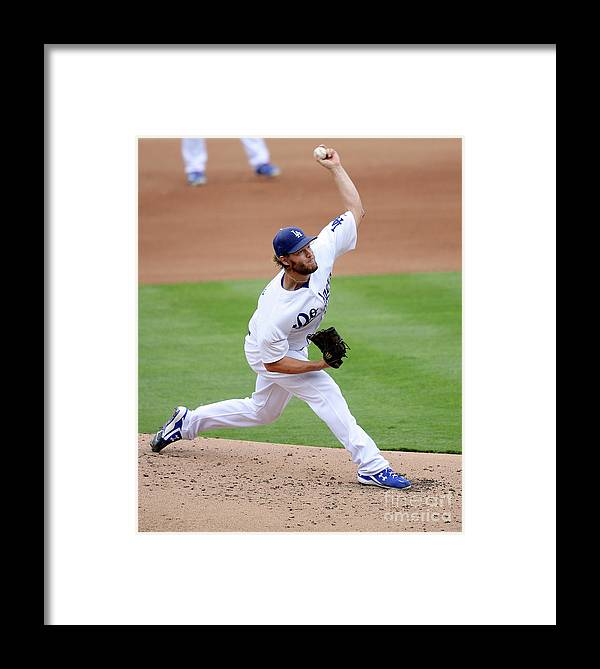 People Framed Print featuring the photograph San Diego Padres V Los Angeles Dodgers by Kevork Djansezian