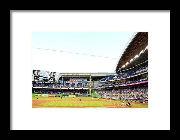 American League Baseball Framed Print featuring the photograph San Diego Padres V Miami Marlins by Marc Serota