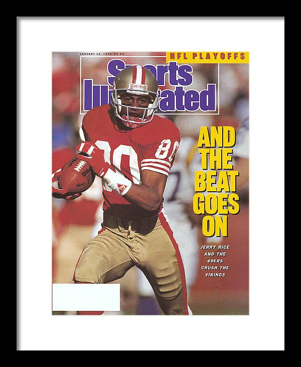 Magazine Cover Framed Print featuring the photograph San Francisco 49ers Jerry Rice, 1990 Nfc Divisional Playoffs Sports Illustrated Cover by Sports Illustrated