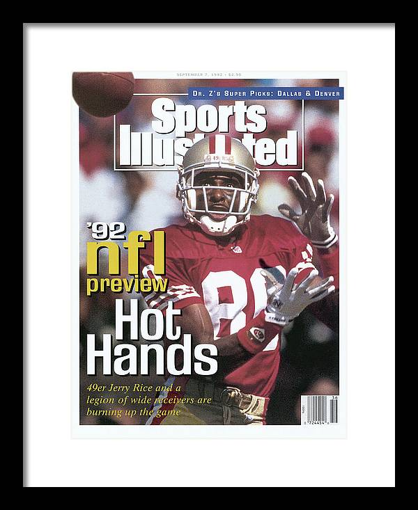 Candlestick Park Framed Print featuring the photograph San Francisco 49ers Jerry Rice, 1992 Nfl Football Preview Sports Illustrated Cover by Sports Illustrated