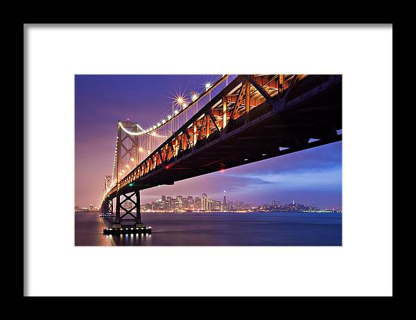 Tranquility Framed Print featuring the photograph San Francisco Bay Bridge by Photo By Mike Shaw