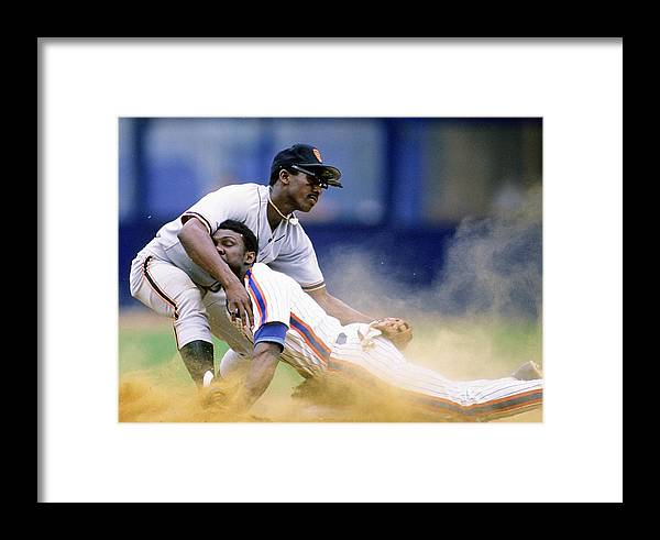 1980-1989 Framed Print featuring the photograph San Francisco Giants V New York Mets by Ronald C. Modra/sports Imagery