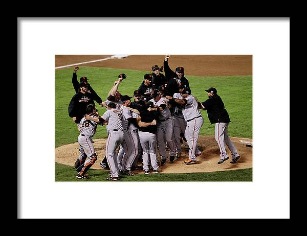 American League Baseball Framed Print featuring the photograph San Francisco Giants V Texas Rangers by Elsa