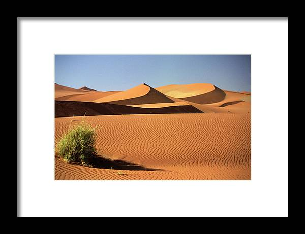 Shadow Framed Print featuring the photograph Sand Dunes In Namib Desert, Namibia by Walter Bibikow