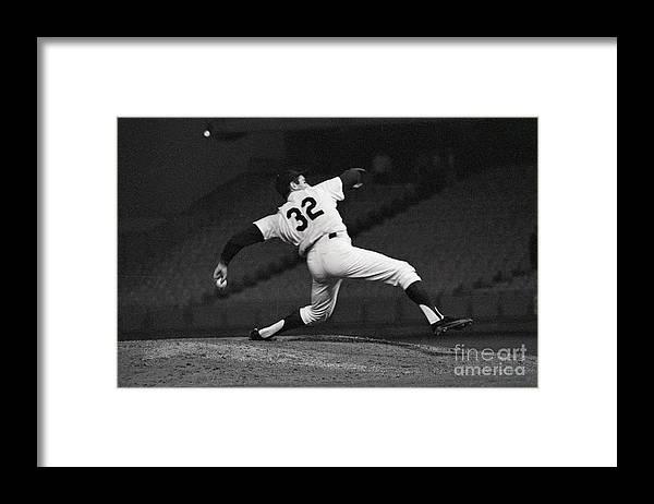 Sandy Koufax Framed Print featuring the photograph Sandy Koufax Pitching A No Hitter by Bettmann