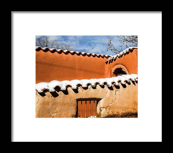 Adobe Framed Print featuring the photograph Santa Fe Abobe with Snow by Candy Brenton