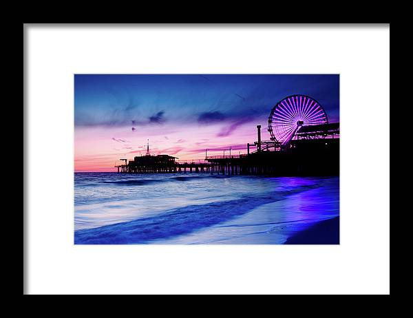 Commercial Dock Framed Print featuring the photograph Santa Monica Pier With Ferris Wheel by Pawel.gaul