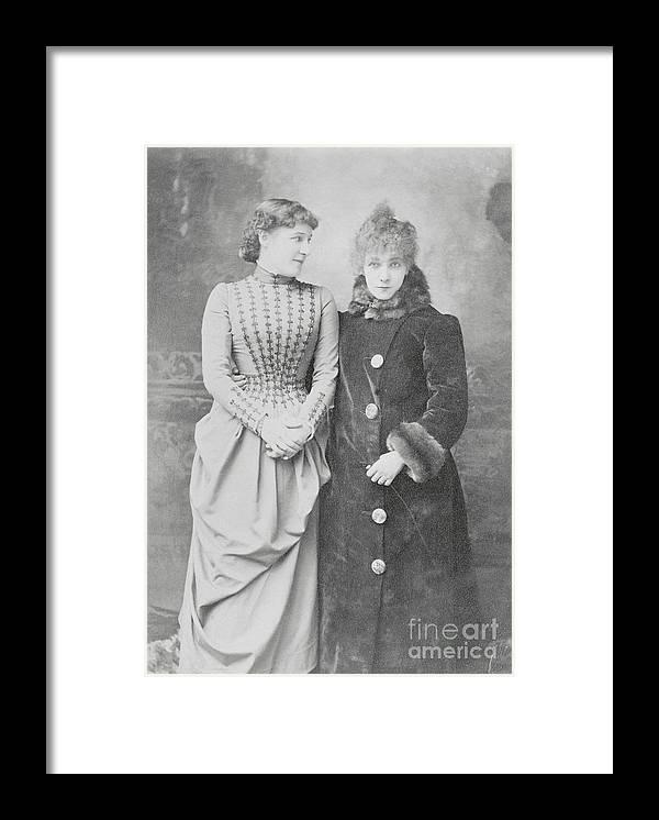 Sarah Bernhardt Framed Print featuring the photograph Sarah Bernhardt With Lillie Langtry by Bettmann