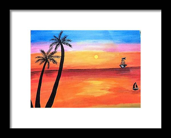 Canvas Framed Print featuring the painting Scenary by Aswini Moraikat Surendran