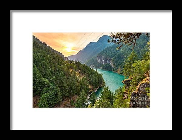 Country Framed Print featuring the photograph Scene Over Diablo Lake When Sunrise by Checubus