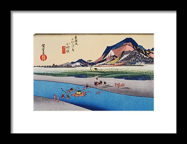 Grass Family Framed Print featuring the digital art Scenery Of Odawara In Edo Period by Daj