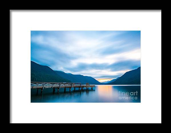 Beauty Framed Print featuring the photograph Scenic View Of Dock In Lake Crescent by Checubus