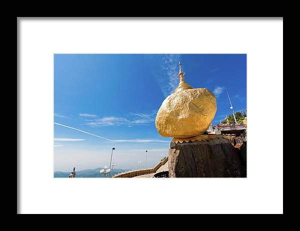 Southeast Asia Framed Print featuring the photograph Scenic View Of Golden Rock Kyaiktiyo by Fototrav