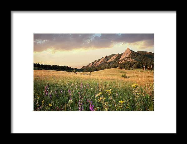 Tranquility Framed Print featuring the photograph Scenic View Of Meadow And Mountains by Seth K. Hughes