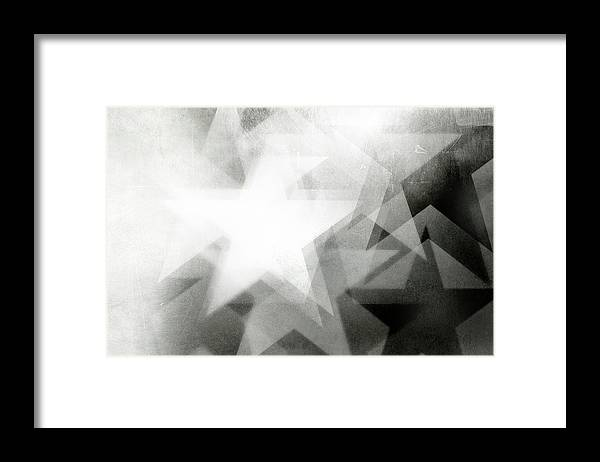Art Framed Print featuring the photograph Scratchy Star Background by Loudredcreative