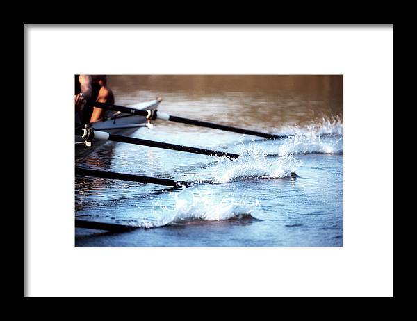 Sport Rowing Framed Print featuring the photograph Sculling Team Rowing On Water by Robert Llewellyn