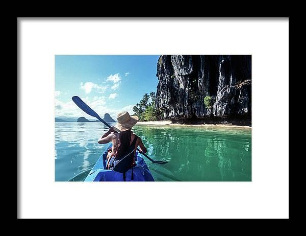 Southeast Asia Framed Print featuring the photograph Sea Kayaking by John Seaton Callahan