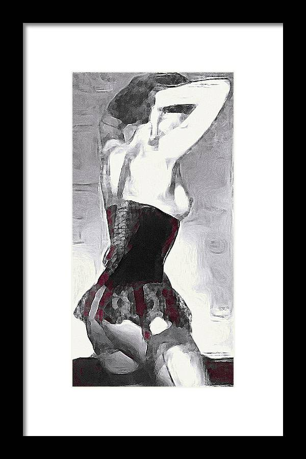 10661f5fe Seamed Stockings Framed Print featuring the mixed media Seamed Stockings by Susan  Maxwell Schmidt