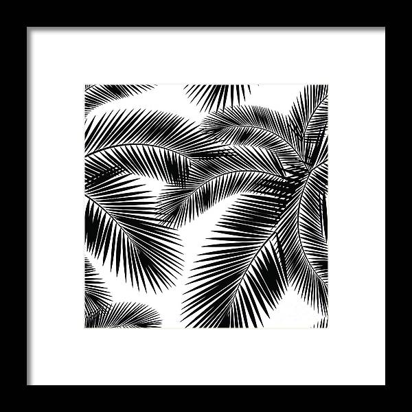 Tropical Rainforest Framed Print featuring the digital art Seamless Color Palm Leaves Pattern by Sv sunny