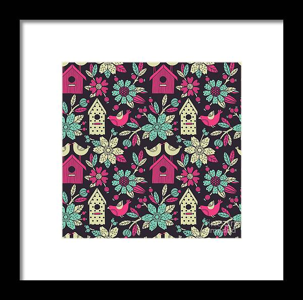 Beauty Framed Print featuring the digital art Seamless Floral Pattern With Birdhouses by Tets