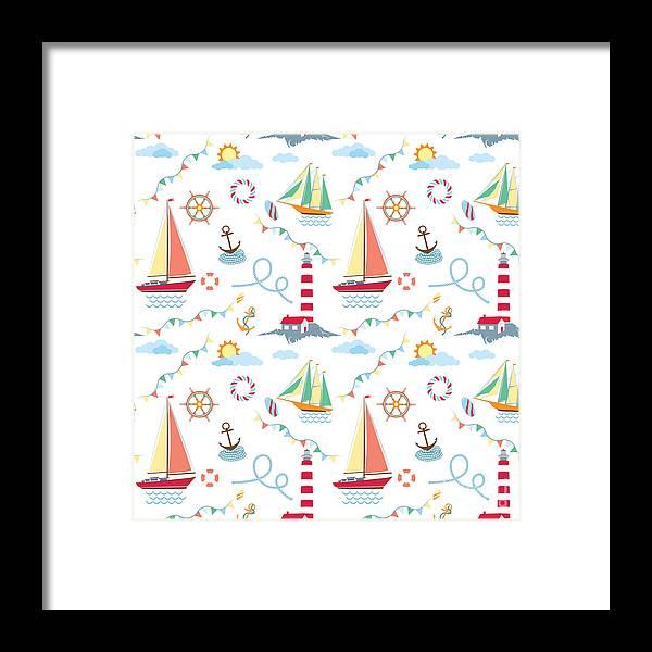 Lifebuoy Framed Print featuring the digital art Seamless Marine Pattern With Ships by Julia kondakov